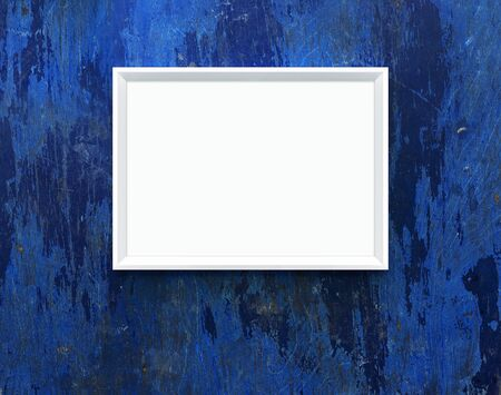 Landscape large 50x70, 20x28, A3, A4. White art poster. Mockup. White frame on blue wooden wall. Clean, modern, minimal frame. Empty frame. Interior. Show text or product, design