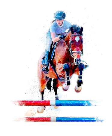 Young girl jumping obstacle with red horse. Horse Jumping, Equestrian Events, Show Jumping Competition. Watercolor painting illustration isolated on white background