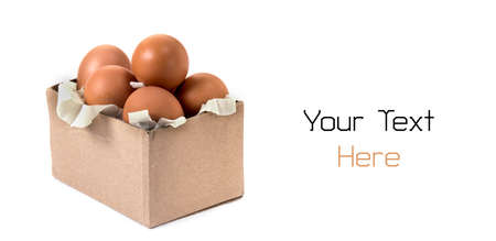 Box with eggs isolated on white background, shopping and food purchases metaphor concept. Stock fotó