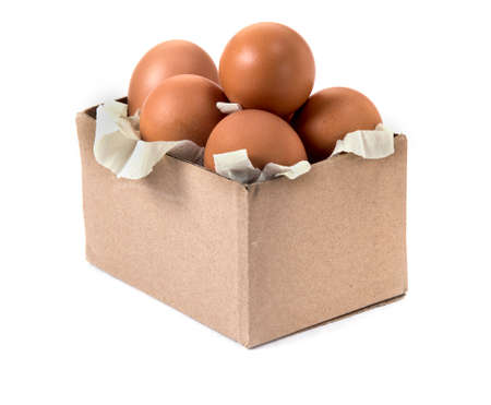 Carton box with eggs isolated on white background, shopping and buying food concept.