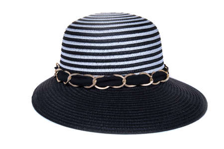 Striped women's hat isolated on white