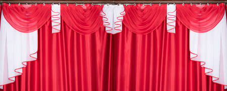 Banner with red and white color pelmet and curtains (portiere), silk texture with folds, cloth background
