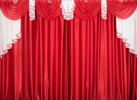 Red and white color lambrequin and curtains (portiere), silk texture with folds, fabric background