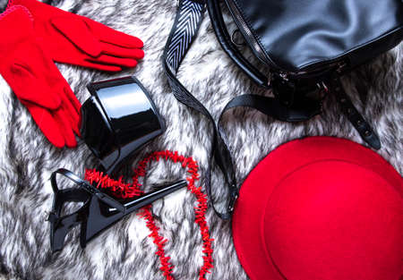 Flat lay collage with woman's black high-heeled shoes, red hat and bag on wolf fur background. Female sandals with very high heels.