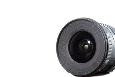 Photography camera lens isolated on white background. Mockup, copyspace Reklamní fotografie