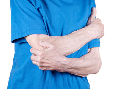 Male hands holding elbow. Old man suffering from pain in bones. Isolated on white background