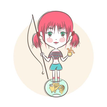 canna pesca: Illustrazione vettoriale di una bambina con una canna da pesca e un pesce rosso. Vettoriali