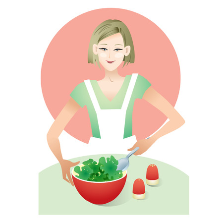 prepared: Vector illustration of a girl is prepared salad. Illustration