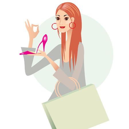 comprando zapatos: Ilustraci�n vectorial de una ni�a de comprar zapatos.