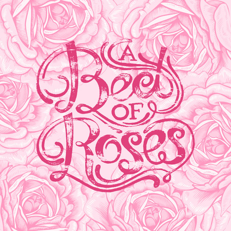 locution: The phrase A bed of roses. Ink hand lettering on a background with the image of a pink roses flowers. Vector floral illustration. Designed for wedding greetings, invitations, wishes.