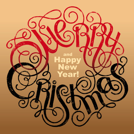 merry christmas and happy new year quote on a gold background lettering vector - Merry Christmas And Happy New Year Quotes