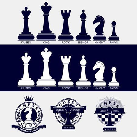 チェスの駒のベクトルのアイコンとロゴのチェス クラブ バージョンのセットです。トーナメント、スポーツ カップの装飾のための設計。黒と白。