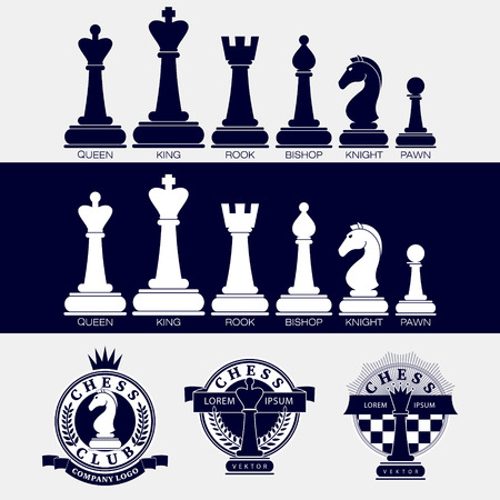 Set of vector icons of chess pieces and chess clubs version of the logo. Design for the decoration of tournaments, sports cups. Black and white.
