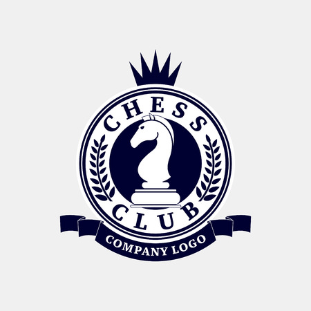 joust: Vector logo of the chess club. Design for the decoration of tournaments, sports cups. Black and white. Illustration