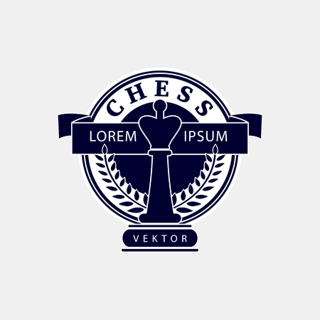 tourney: Vector logo of the chess club. Design for the decoration of tournaments, sports cups. Black and white. Illustration