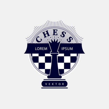 Vector logo of the chess club. Design for the decoration of tournaments, sports cups. Black and white. Stock Illustratie