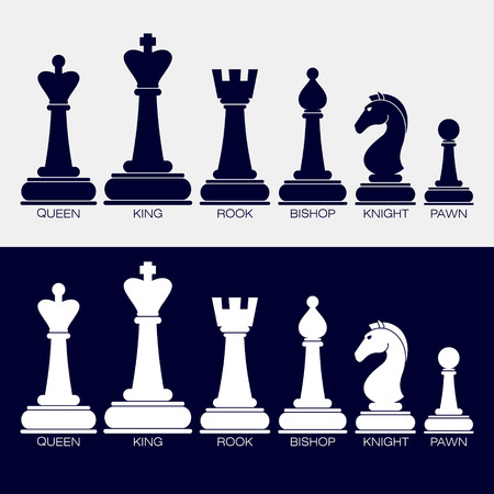 Set of vector icons of chess pieces. Their names queen, king, rook, bishop, knight, pawn. Black and white. Stock Illustratie