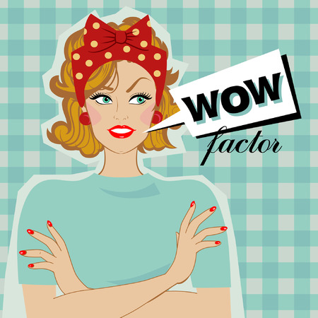 Woman smiling and speech bubble with text wow factor. Vector pop Art. Ilustração