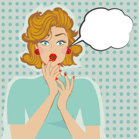 an open mouth: Mujer sorprendida con la boca y bocadillos abiertos. Vector del arte pop.