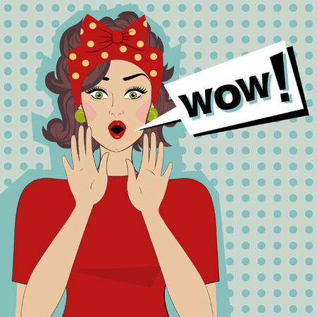 wow: Mujer joven sorprendida con la boca abierta y un bocadillo de diálogo con el texto Wow. Vector del arte pop. Vectores