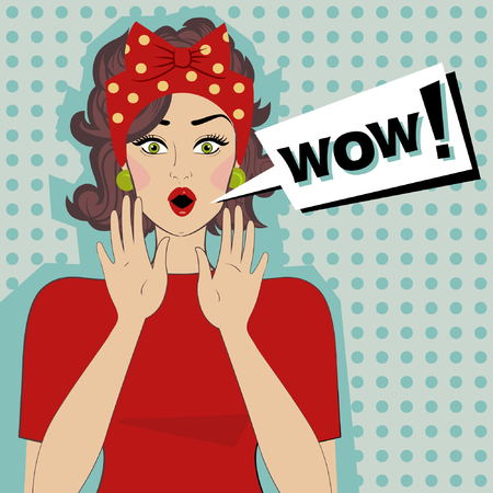 woman mouth open: Surprised young woman with open mouth and a speech bubble with the text Wow. Vector pop Art.