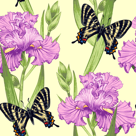 convolvulus: Vector seamless background. Design for fabrics, textiles, paper, wallpaper, web. Irises, butterfly. Retro. Vintage style.