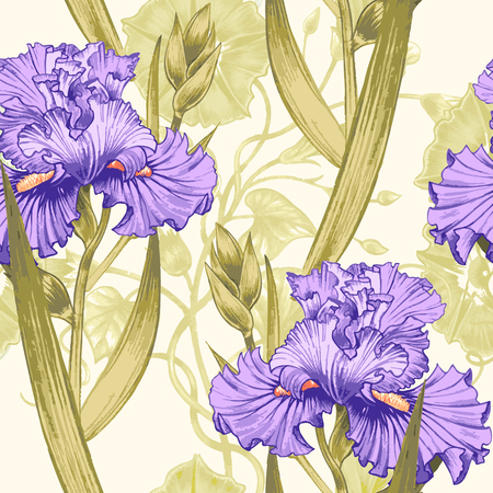 Vector seamless background. Design for fabrics, textiles, paper, wallpaper, web. Irises, bindweed. Retro. Vintage style.