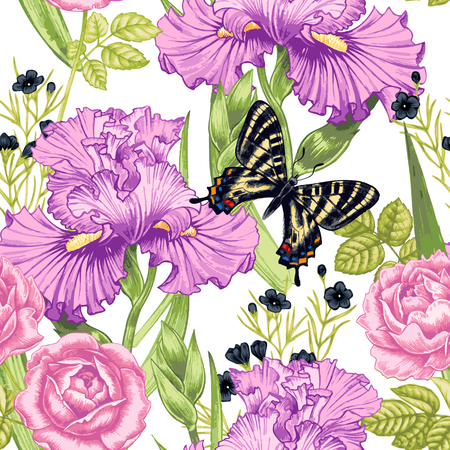 rose butterfly: Vector seamless background. Design for fabrics, textiles, paper, wallpaper, web. Irises, bindweed, rose, butterfly. Retro. Vintage style. Illustration
