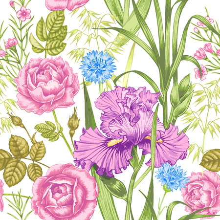 convolvulus: Vector seamless background. Design for fabrics, textiles, paper, wallpaper, web. Irises, rose. Retro. Vintage style.