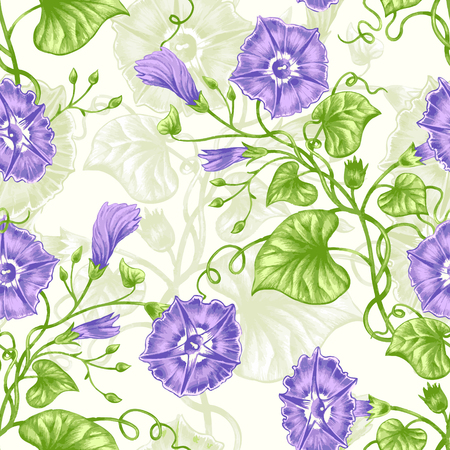 bindweed: Vector seamless background. Design for fabrics, textiles, paper, wallpaper, web. Bindweed. Retro. Vintage style.