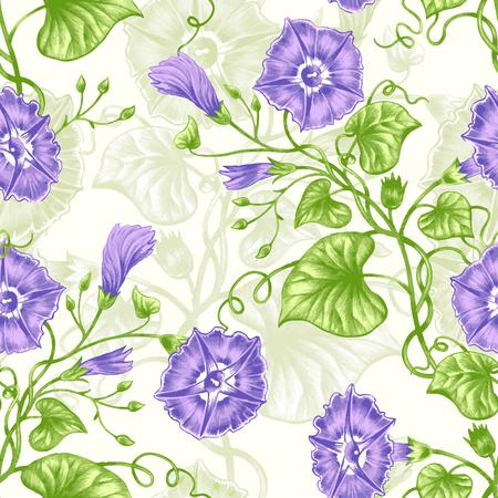 rose garden: Vector seamless background. Design for fabrics, textiles, paper, wallpaper, web. Bindweed. Retro. Vintage style.