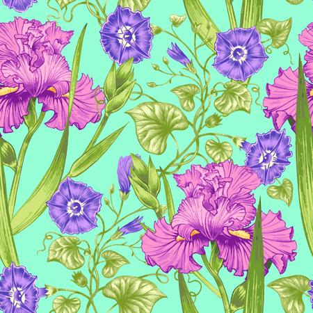 bindweed: Vector seamless background. Design for fabrics, textiles, paper, wallpaper, web. Irises, bindweed. Retro. Vintage style.