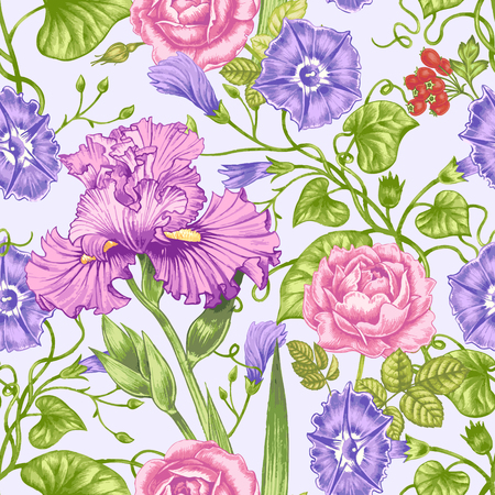 convolvulus: Vector seamless background. Design for fabrics, textiles, paper, wallpaper, web. Irises, roses, bindweed. Retro. Vintage style. Illustration