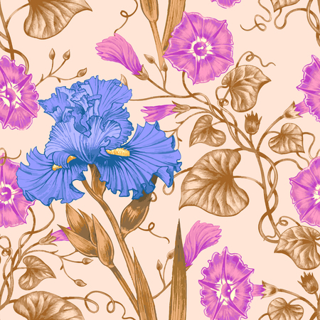abstract rose: Vector seamless background. Design for fabrics, textiles, paper, wallpaper, web. Irises, bindweed. Retro. Vintage style.