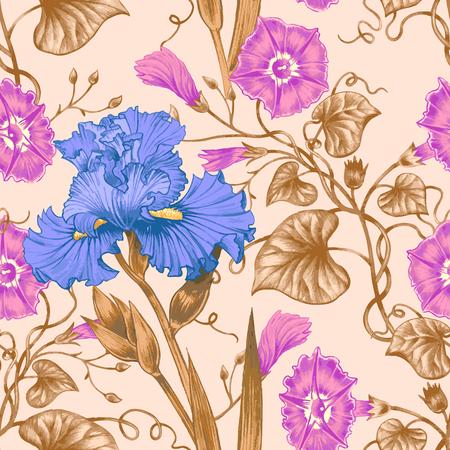 convolvulus: Vector seamless background. Design for fabrics, textiles, paper, wallpaper, web. Irises, bindweed. Retro. Vintage style.