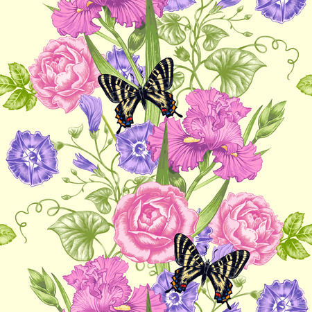 convolvulus: Vector seamless background. Design for fabrics, textiles, paper, wallpaper, web. Roses, irises, bindweed, butterflies. Retro. Vintage style.