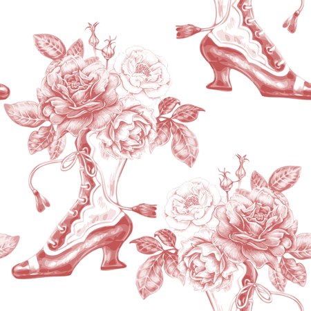 Vector seamless pattern with bouquets of roses and shoes. Design for fabrics, textiles, paper, wallpaper, web. Floral ornament. Victorian style. Vintage.