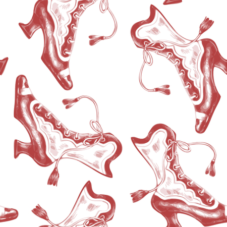 victorian wallpaper: Vector seamless pattern with shoes on a white background. Design for fabrics, textiles, paper, wallpaper, web. Victorian style. Vintage.