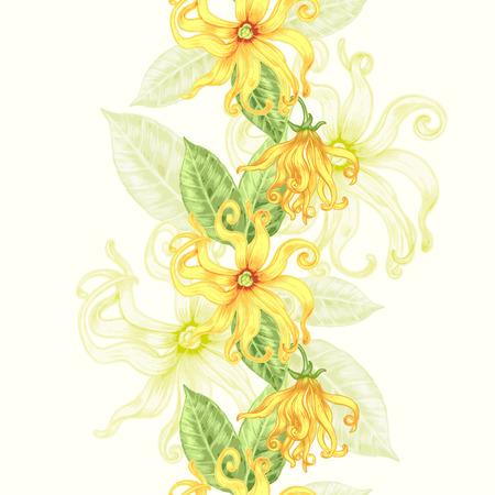 벡터 원활한 배경입니다. 이국적인 꽃 일랑입니다. 직물, 섬유, 종이, 벽지, 웹을위한 디자인. 레트로. 빈티지 스타일. 꽃 장식입니다.