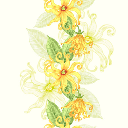 Vector seamless background. Exotic flowers ylang. Design for fabrics, textiles, paper, wallpaper, web. Retro. Vintage style. Floral ornament. Vettoriali