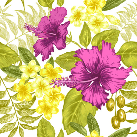 exotica: Vector seamless background. Exotic flowers. Hibiscus, palm leaves. Design for fabrics, textiles, paper, wallpaper, web. Retro. Vintage style. Floral ornament. Illustration