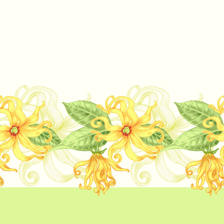 exotica: Vector seamless background. Exotic flowers ylang. Design for fabrics, textiles, paper, wallpaper, web. Retro. Vintage style. Floral ornament. Illustration