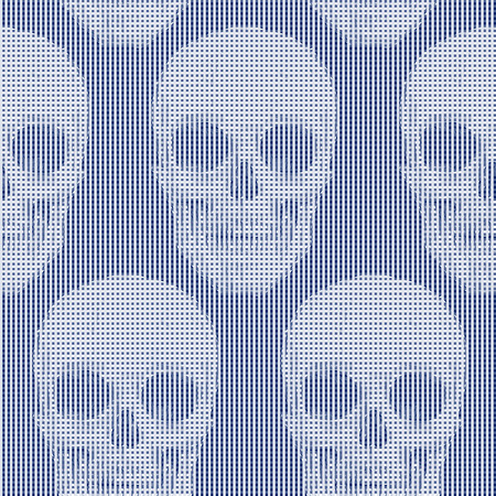 vector skull danger sign: Seamless pattern with skulls and geometric shapes and optical effects. Vector. Illustration for textiles, wallpaper, fabrics. Black and white. Illustration