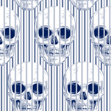 vector skull danger sign: Skulls and geometric shapes and optical effects. Seamless pattern. Vector illustration for textiles, wallpaper, fabrics. Black and white.