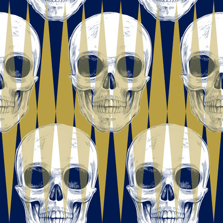 vector skull danger sign: Skulls and geometric shapes and optical effects. Seamless pattern. Vector illustration for textiles, wallpaper, fabrics. Black, white and gold.