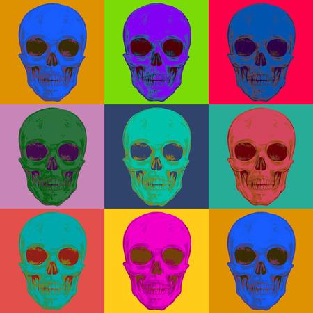 vector skull danger sign: Seamless pattern with skulls. Vector illustration for textiles; wallpaper; fabrics. Illustration