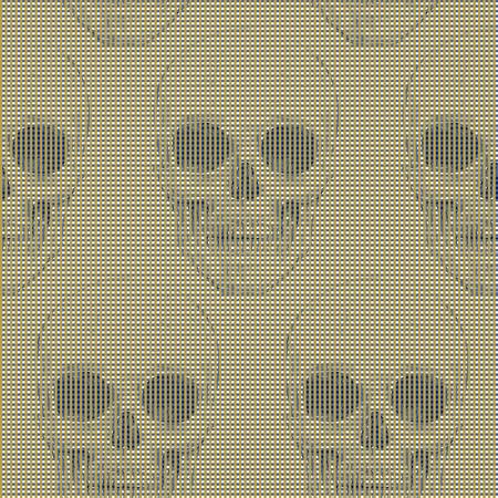 Crânes et des formes géométriques et des effets optiques. Seamless. Vector illustration pour les textiles, le papier peint, tissus. Noir, blanc et or.