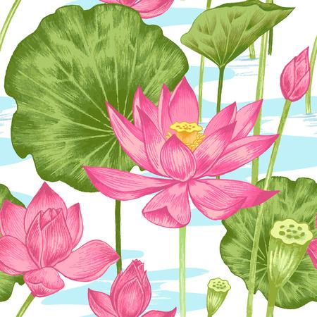 벡터 원활한 배경입니다. 예술 수채화 연필의 이국적인 꽃 그림. 연꽃과 연못. 직물, 섬유, 종이, 벽지, 웹 디자인. 레트로. 빈티지 스타일. 일러스트