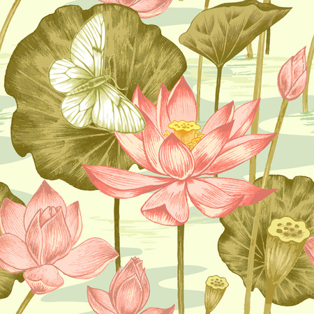 Vector seamless background. Illustration with exotic flowers and butterfly in the art watercolor pencils. Pond with lotus. Design for fabrics, textiles, paper, wallpaper, web. Retro. Vintage style. Vettoriali