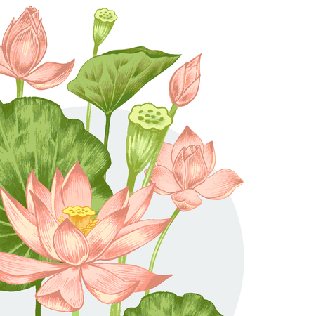 Vector. Illustration with exotic flowers in the art watercolor pencils. Lotus pond. Retro. Vintage style. Vettoriali